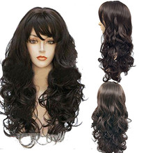Fashion Women Girl 60cm Dark Brown Wigs Wavy Curly Long Heat Resistant Fiber Costume Party Wigs For Women Gift Dropshipping