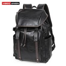 MAGIC UNION Vintage Leather Laptop Backpacks Mens USB Travel Rucksack Waterproof Daypacks Retro Bagpack New School Bag Mochilas