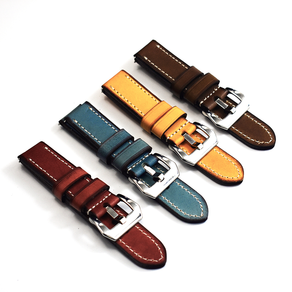 Watch Strap Band Leather Retro Handmade Wristband 20mm 22mm 24mm Vintage Thick Watchband Watch Strap Belts Polished Buckle KZB03