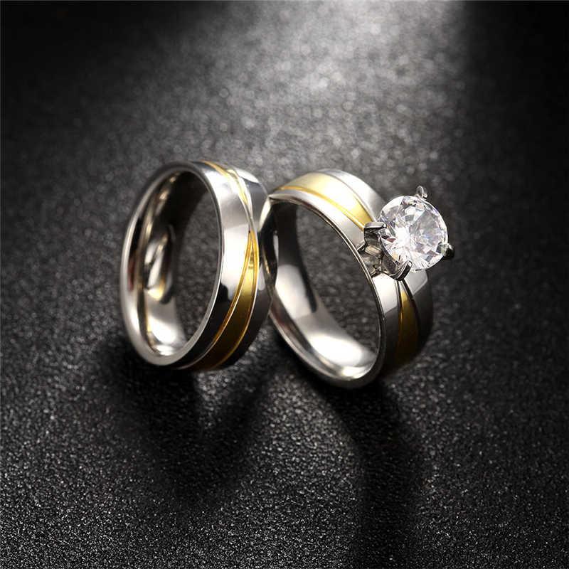 新 2 ピース/セットクリスタルのカップルリングと男性ゴールド色のステンレス鋼婚約リング結婚式の宝石類