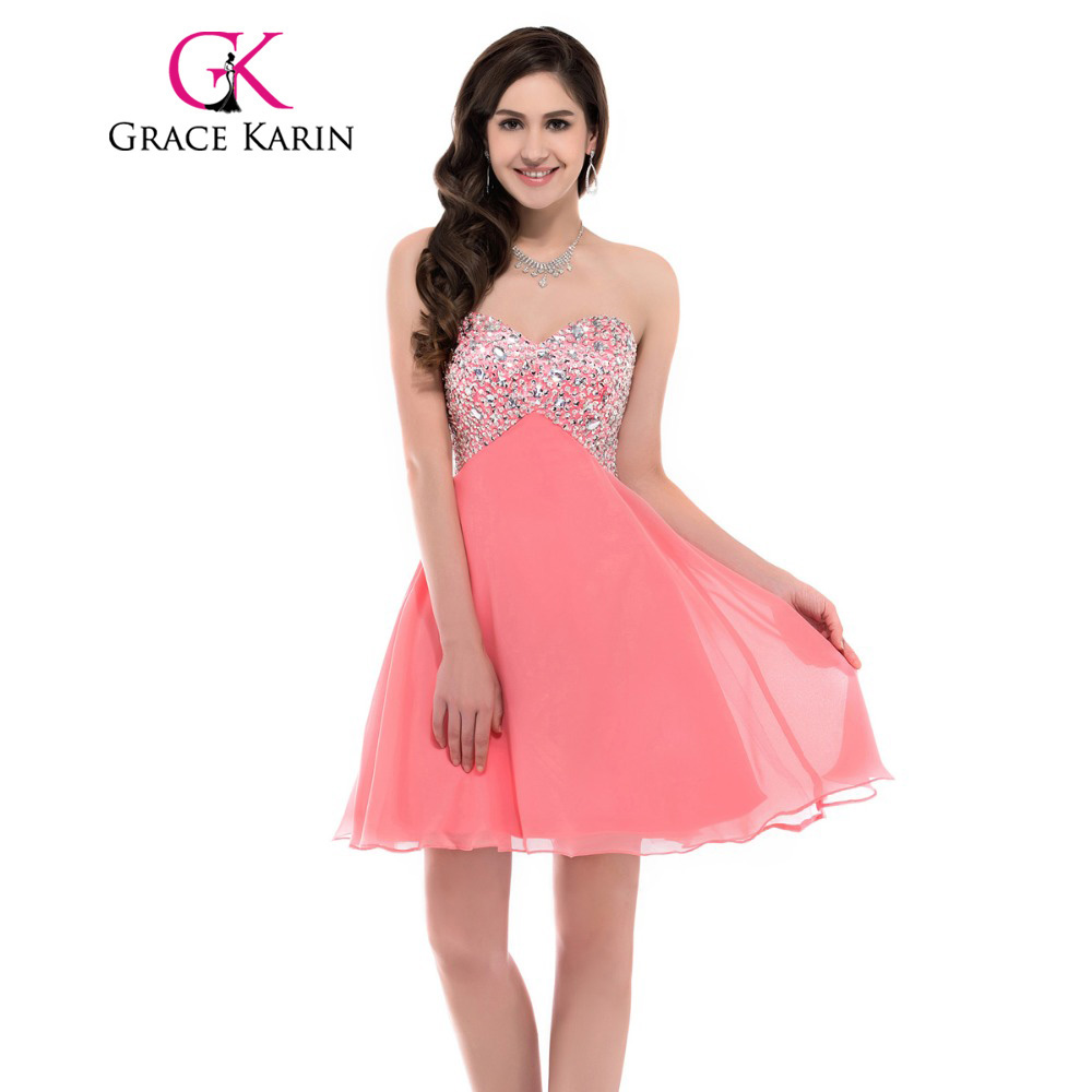 Black White Pink Short Prom Dresses