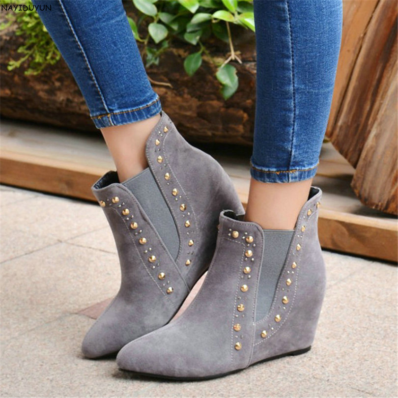NAYIDUYUN   2017 Snow Boots Women Faux Suede Pointed Toe Ankle Boots High Heel Fringe Pumps Wedges Casual Rivet Oxfords Shoes nayiduyun new fashion thigh high boots women genuine leather round toe knee high boots high heel party pumps casual shoes