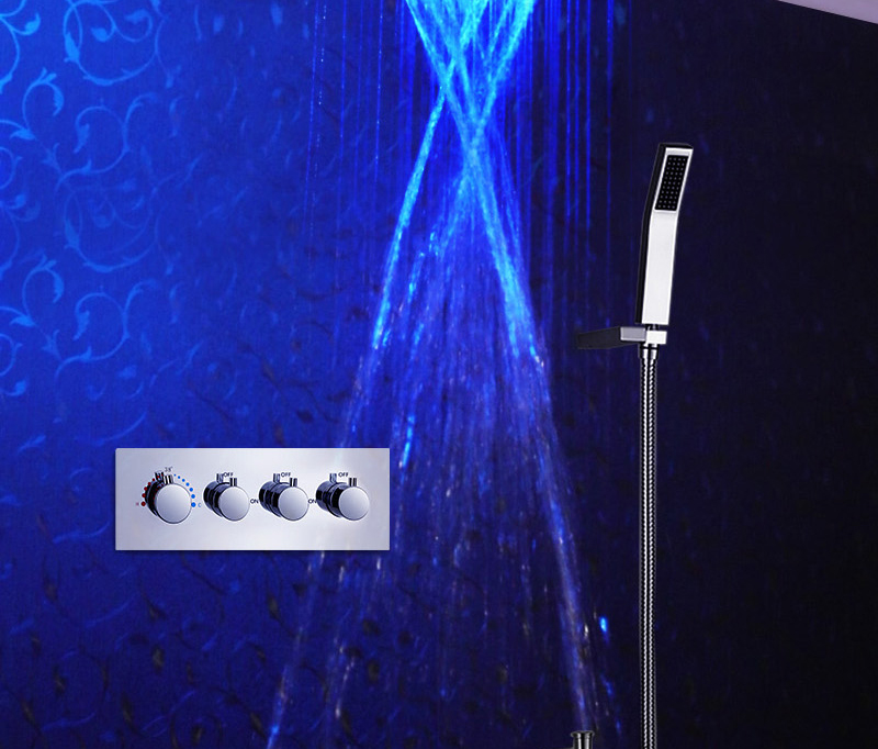 LED Ceiling Shower Head Rain Waterfall Shower Massage Jets Wall Mounted Panel Tap Sets Thermostatic Mixer (5)