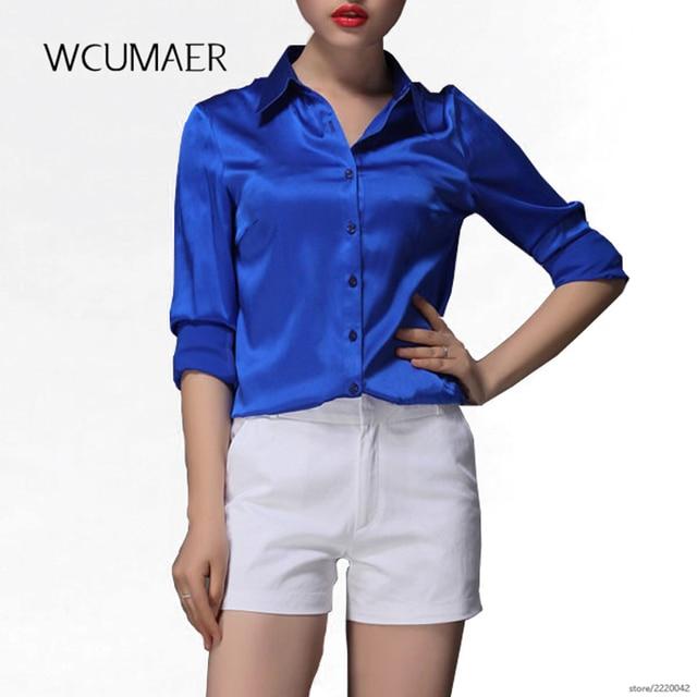 739112da7e013 S-XXXL women Fashion silk satin blouse button ladies silk blouse shirt  casual office Blue Gold wine red long sleeve satin 8028