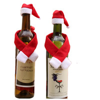 50set Christmas Decorations For Home Santa Claus Wine Bottle Cover Clothes Set Hat Cap Scarf Table Decor New Year Gifts40%off