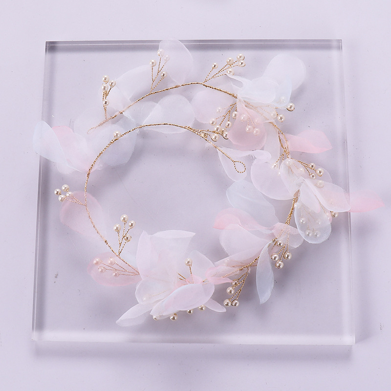 New Bohemian Mesh Flower Pearl Tiara Hair Band Fairy Headband Bridal Headdress Wedding Accessories White Headpieces Bride 2019