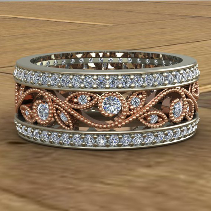 Fashion 925 Silver Stackable Pan Ring Flower Wave & Clear CZ Crystal Rings for Women Sterling Silver Jewelry Wedding Best Gifts