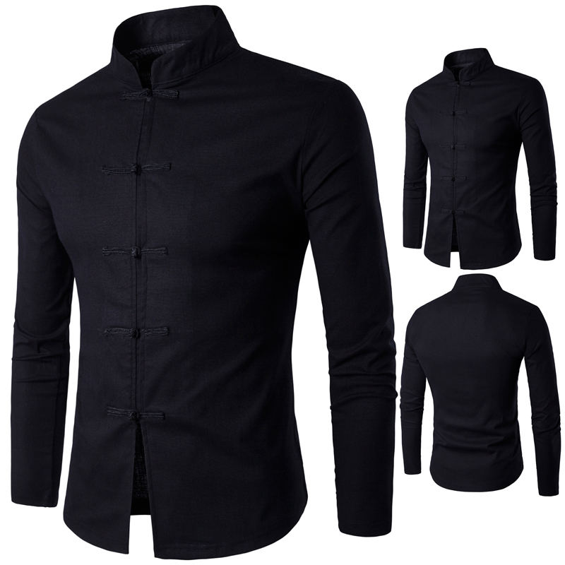 Mazefeng Men Clothing Casual Shirts Men Traditional Chinese Garments Male China Dress Solid Classic Stand Collar