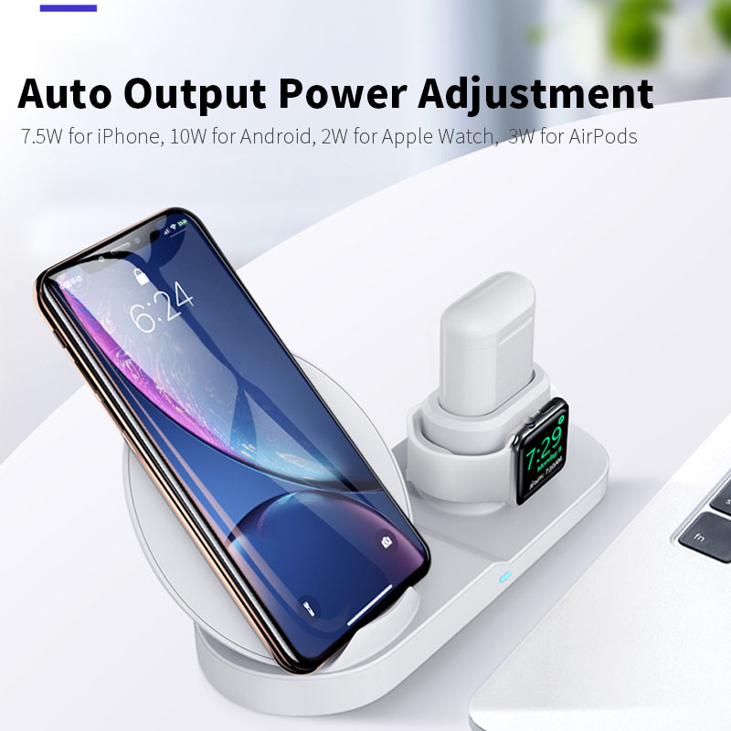 Image 2 - 3 in 1 Wireless Charger Stand for iPhone 8 X XR XS Wireless Charging Dock Station Magnetic Charger for Apple Watch 4 3 2 1 3in1-in Mobile Phone Chargers from Cellphones & Telecommunications