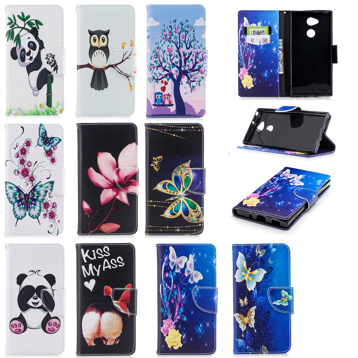 Matcheasy Flip Case For Sony XA2 ULTRA Luxury drawing Coloured pattern Anti-knock phone Shell Cover Dirt-resistant Wallet Case