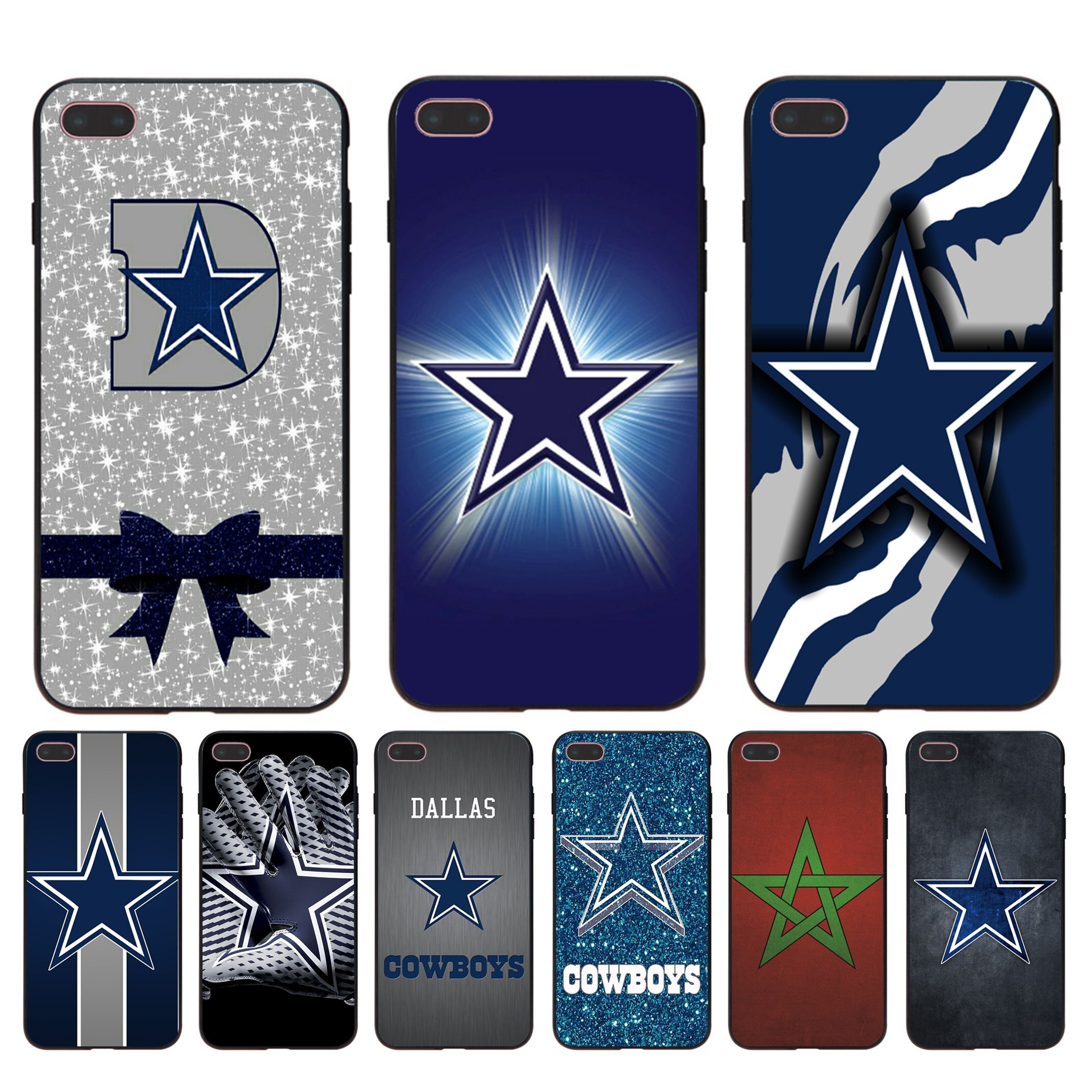 new style 376de ec314 Dallas Cowboys Glitter Silicone Soft Case For Iphone