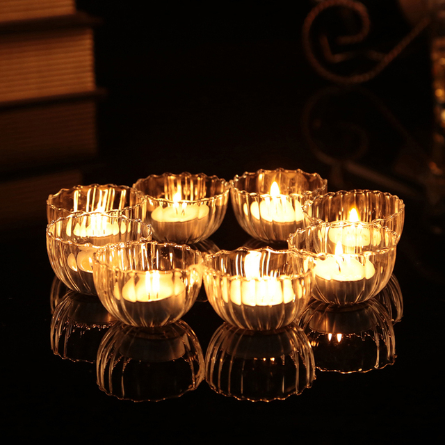 New Arrival ! Clear Glass Bowl Candle Holders Floating Glass Mini Cups x 8pcs Wishing Pool decor