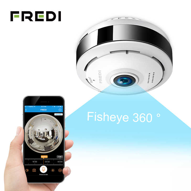 FREDI IP Camera 360 Degree Panoramic Fisheye Wireless WiFi Surveillance Camera 960P Security CCTV Camera Infrared Night Vision