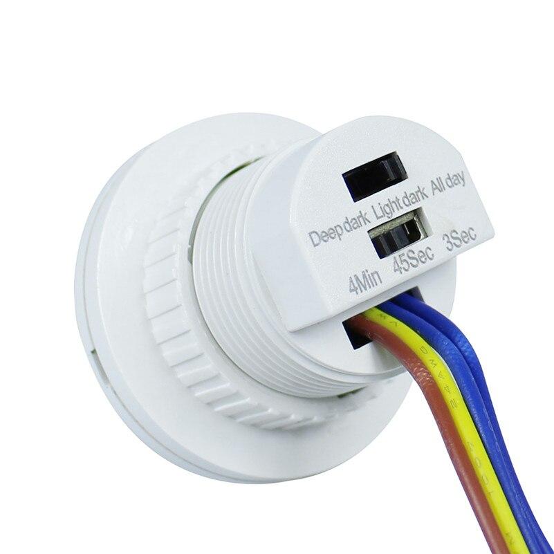 Nouveau 1 pcs 40mm PIR Infrarouge Ray Motion Sensor Night Extérieurs pour La Maison Lumière Commutateur Temps Retard Réglable Mode Détecteur commutation