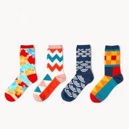 6 pair/pack Men Socks Long-Staple Cotton Print Elastic 2018 Fashion Casual Funny Sock for Couple