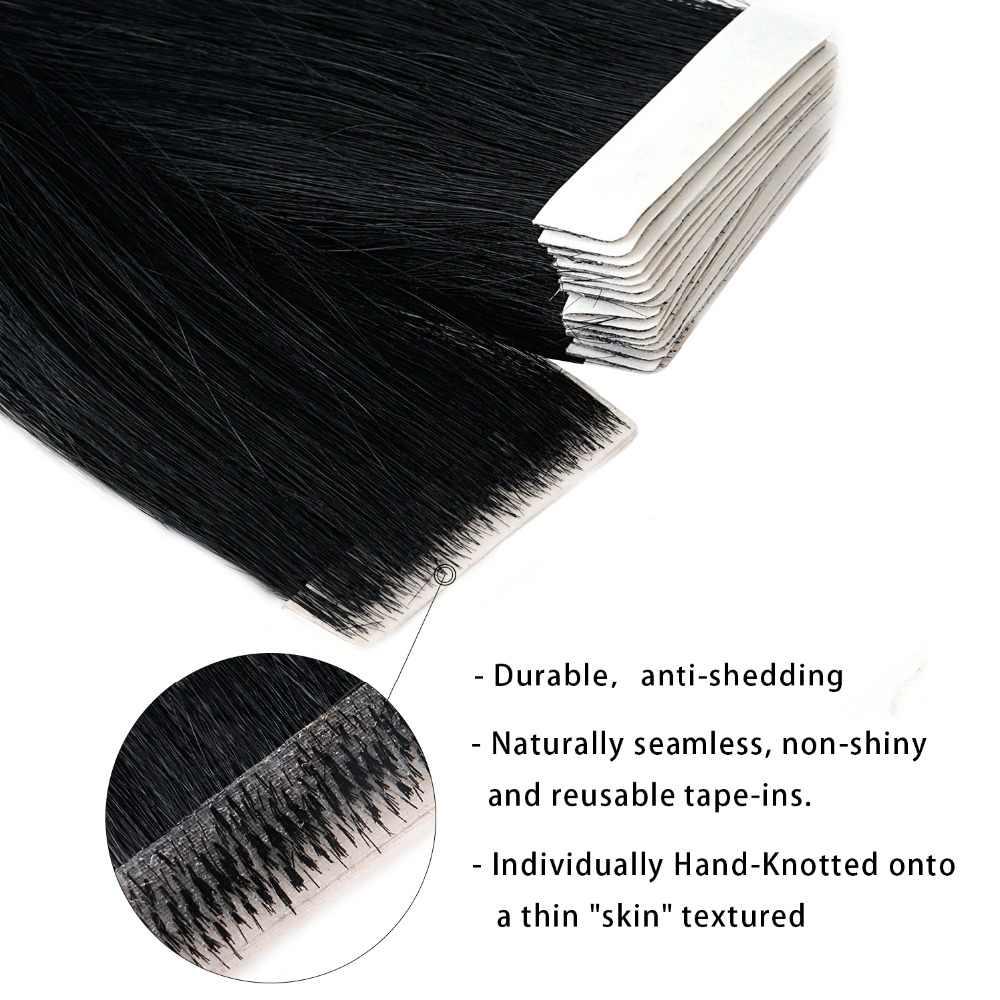 "Neitsi Straight PU Skin Inslag Hand Gebonden Tape In Lijmen Remy Human Hair Extensions 16 ""20"" 24"" 20 pcs/40 pcs FedEx Snelle Verzending"
