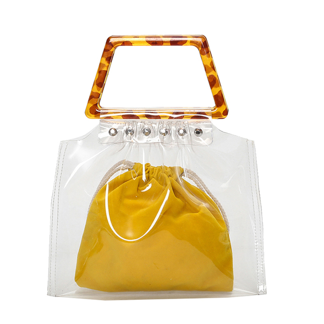 Summer Designer Handbags 2pcs Luxury Clear Bag S Acrylic Square Handle Transpa Jelly Pvc Purses Travel