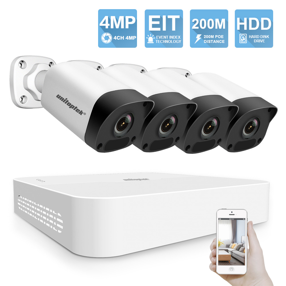 4CH 4MP POE NVR Kit CCTV Security Camera System Ultra 265 EIT 200M POE Distance IP
