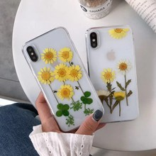 Natural Real Dried Flowers Phone Case For iPhone XS XR Max X 6 6S 7 8 Plus Handmade Clear Soft Fresh Flower TPU Back Cover