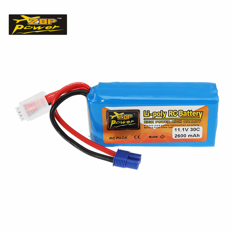 High Quality ZOP Power 11.1V 2600mah 30C 3S Lipo Battery EC3 Plug Rechargeable for 1/8 RC Car RC Toys Models Spare Parts