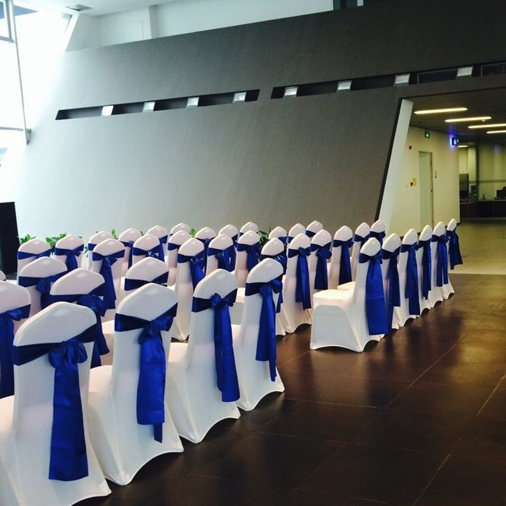 50pcs/Lot Stretch Wedding Chair Cover Satin Fabric Bow Tie Ribbon Band Wedding Party Birthday Decorations Wholesale Dropshipping