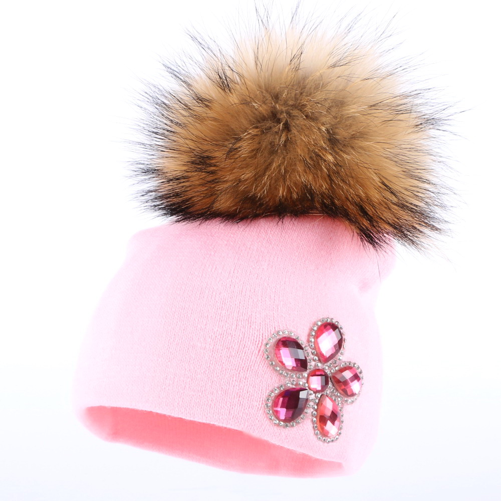 boy girl baby new design winter hats fuchsia crystal floral cotton   skullies   children cute   beanies   large mink pompom gorros hat