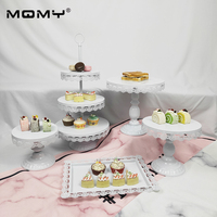 5 Pcs Thick Plate Cake Wedding Set Dessert Metal Fruit Vintage Birthday White Pink Fancy 3 Tier Cupcake Stand