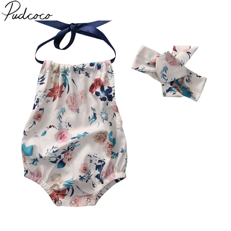 2018 Brand New Newborn Toddler Infant Baby Girl Floral Romper With Headband Straped Sleeveless Sunsuit Casual Jumpsuit 0-18M