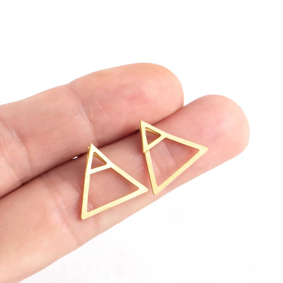 أقراط ذهبية كورية بسيطة من الحديد المقاوم للصدأ مثلث وأقراط للنساء موضة 2019 مجوهرات اكسسوارات هدايا