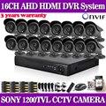 Главная 16-канальный AHD 960 H ВИДЕОРЕГИСТРАТОР с SONY 1200TVL Крытый открытый камеры безопасности cctv система комплект видеонаблюдения 16 канал hdmi 1080 P