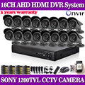 home 16ch AHD 960H DVR with SONY 1200TVL Indoor outdoor security camera cctv system video surveillance kit 16 channel hdmi 1080p
