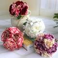 12 Heads Fake Hydrangea artificial Peony Bouquet Silk Real Touch Rose Bridal Flower Arrangement Home Wedding Party Garden Decor