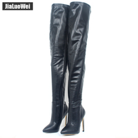 jialuowei 2018 New Sexy Style Over The Knee Boots 12CM Super High Heel Women Boots Zipper Fashion Unisex Boots Plus Size 36 46