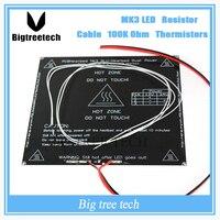 RepRap 3D Printer Parts PCB MK3 Heatbed LED Resistor Cable 100K Ohm Thermistors Aluminum Heated Bed