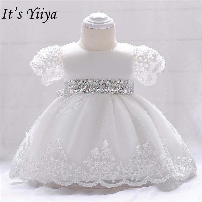 It's yiiya Fashion Sequined Belt Little   Flower     Girl     Dresses   O-neck Tea-length White   Girl     Dress   MA066