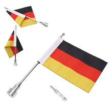 Motorcycle Decoration Aluminum Flag Pole With Germany Flag For Harley Road King Sportster Honda GL1800 Adjustable Mount Banner