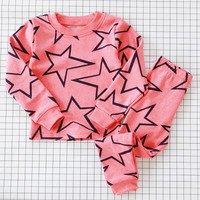 Girls Boys Pajama Pajamas Sets Two Pieces Tops Pants Sleepwear Spring Fall Winter Dog Bear Star