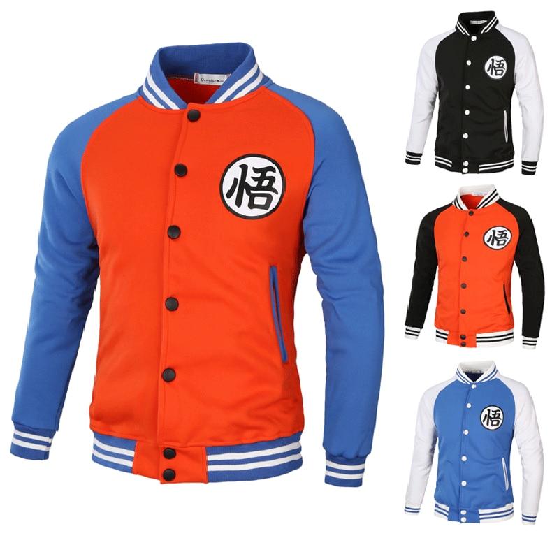 Anime Dragon Ball Z Cartoon Baseball Uniform Son Goku Casual Coat Sweatshirts Casual Coat Dragon Ball Super Cardigan Jacket