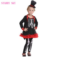 2018 Cosplay Costumes Girls Skull Halloween Costume With Hat Pants For Kids Stage Dresses Sets Party Long Sleeve Pirate Cosplay