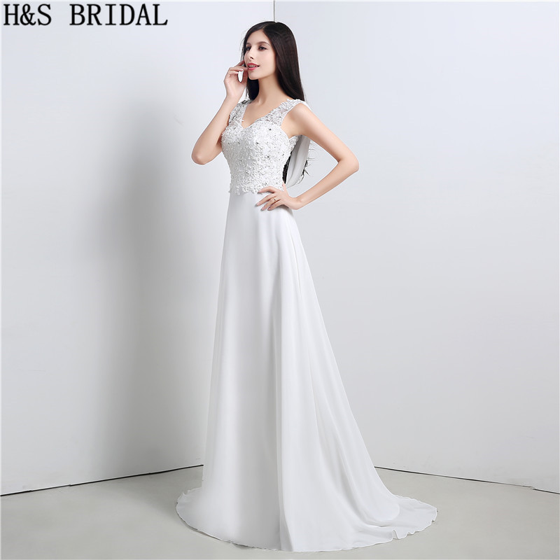 V Neck A Line Wedding Dresses Lace Beaded wedding gowns Cheap Brides ...