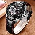 Lige мужские часы лучший бренд класса люкс кварц мужские часы, наручные часы Спортивный Хронограф КОЖА Водонепроницаемый модные часы masculino 9842