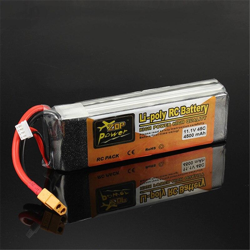 High Power High Quality Rechargeable ZOP Power 11.1V 4500mAh 3S 45C Lipo Battery XT60 Plug