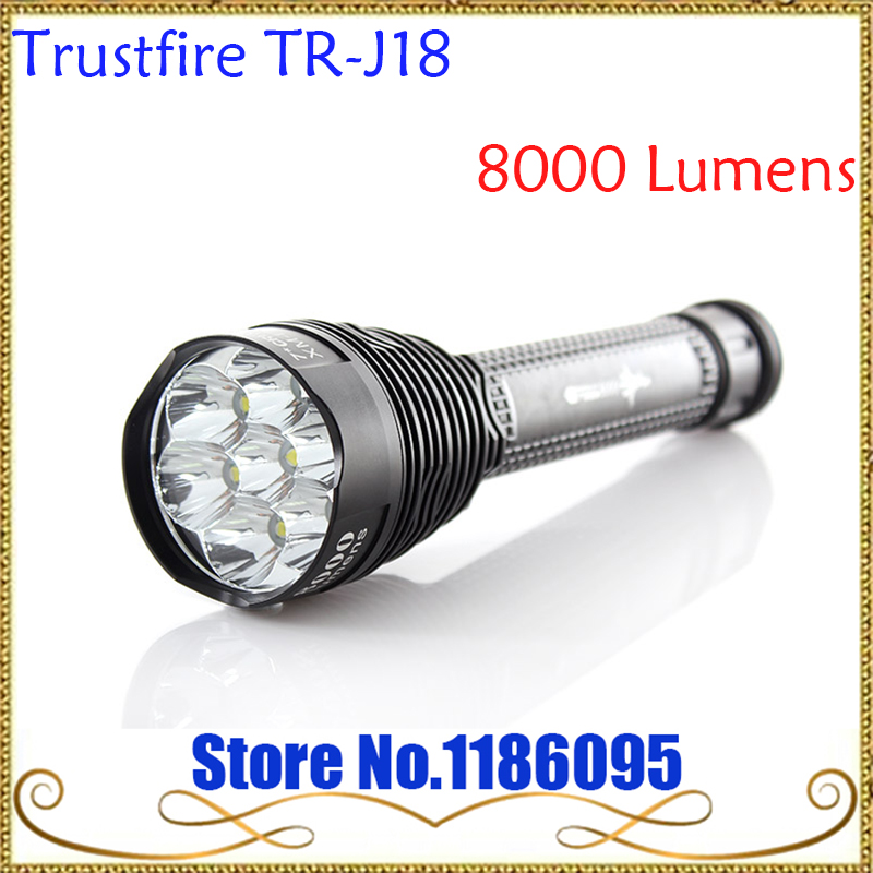 Original Trustfire TR-J18 J18 Flashlight  8000 Lumens 7 X CREE XM-L T6 LED by 18650 or 26650 Battery Waterproof High Power Torch 1pc trustfire tr j18 flashlight 5 mode 8000 lumens 7 x cree xm l t6 led waterproof torch come with 3 18650 battery charger
