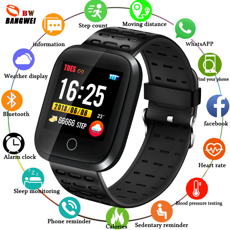 Homens IP67 LIGE Pulseira Esporte Inteligente Esfigmomanômetro Eletrônico Relógio Relógio À Prova D' Água Rastreador De Fitness Heart Rate Para IOSAndroid