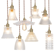 Nordic contracted dining hall porch light bar piaowindow corridor brass glass lotus online celebrity small chandelier
