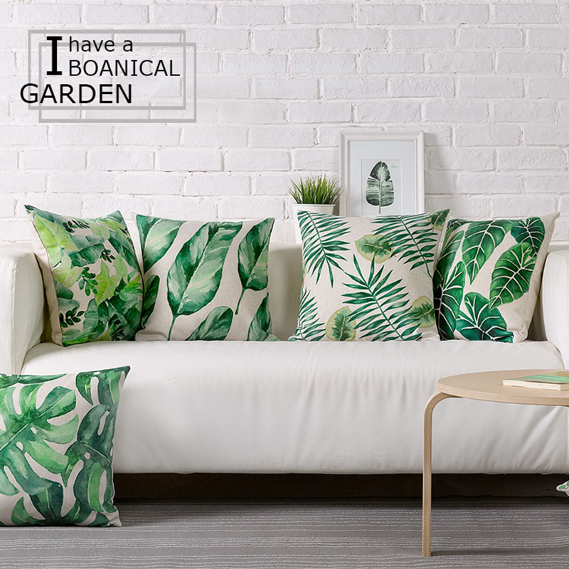 Wholesale green leaves pillow cover cushion cover tropical for W home decor
