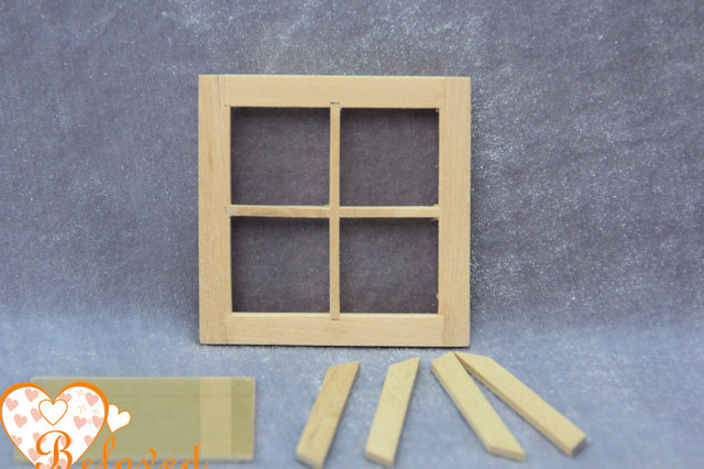 Buy Fashion Unfinished Diy Dollhouse Miniature Fairy Window With 4 Panes Wooden