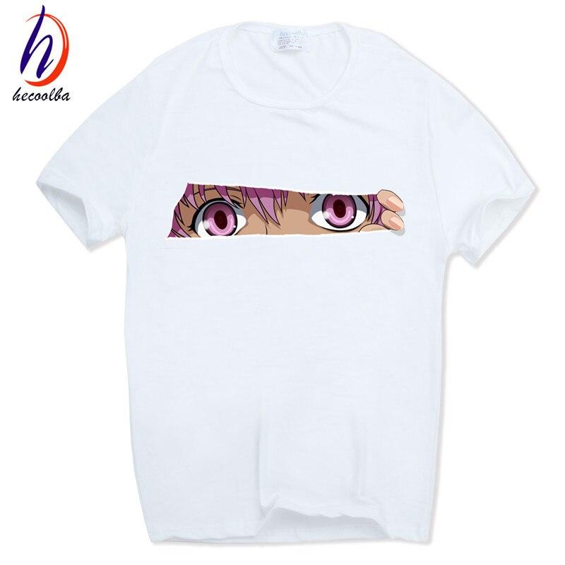 Print Future Diary Japanese Anime Mirai Nikki T-shirt O-Neck Short sleeves Summer Casual Gasai Yuno T Shirt HCP617