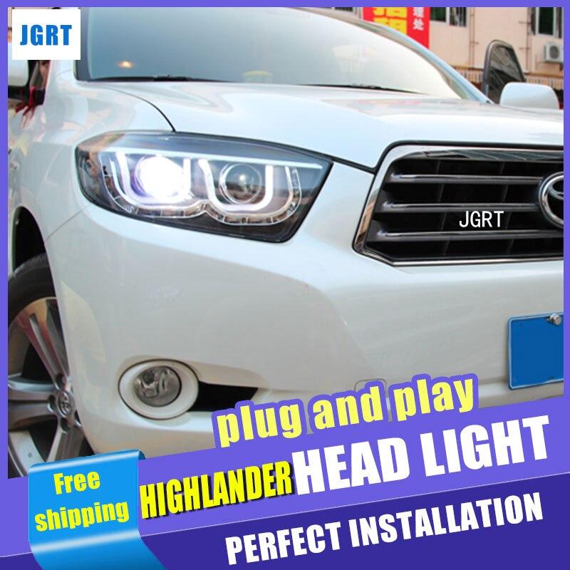 Car Styling For Toyota Highlander led headlight assembly 2009-2011 Highlander led head lamp angel eye drl H7 with hid kit 2 pcs. hireno headlamp for 2016 hyundai elantra headlight assembly led drl angel lens double beam hid xenon 2pcs