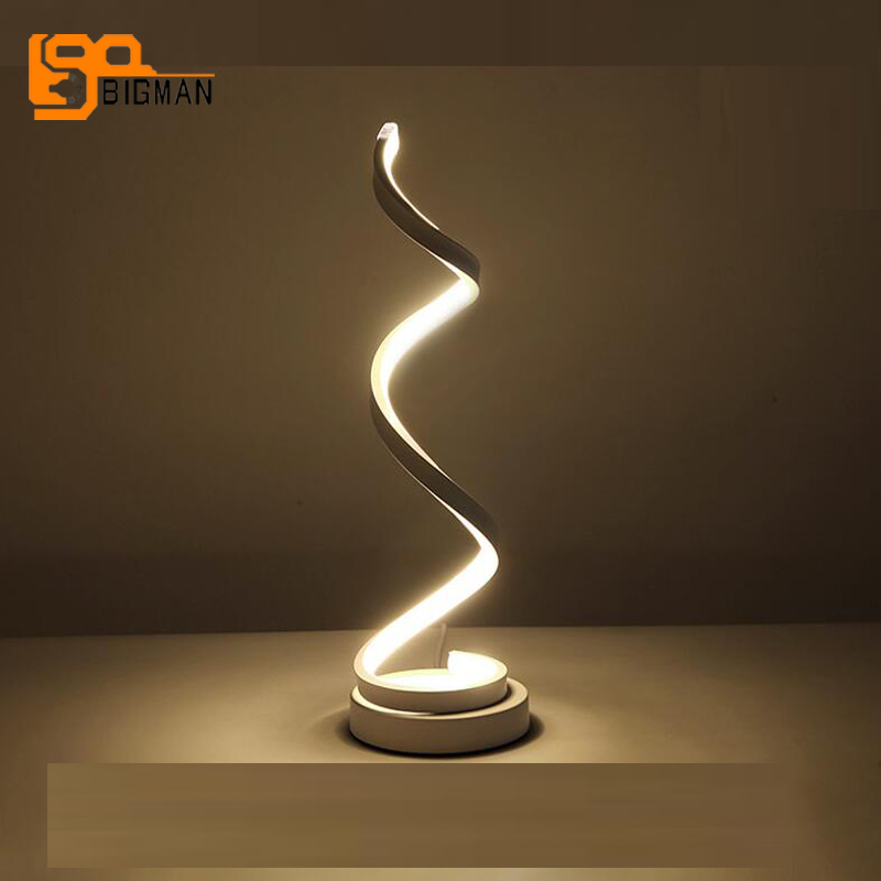 spiral design LED table lamp modern white table light Dia15*H50cm home decor desk lamp dadawen boy s girl s slip on loafers oxford shoes